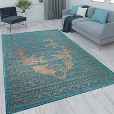 rug vintage look turquoise