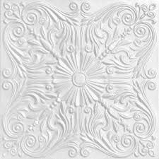 silver 1 6 ft x 1 6 ft foam glue up ceiling tile in