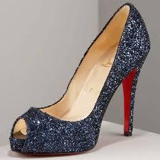 dark blue glitter powder sheep skin peep toe platform pumps high