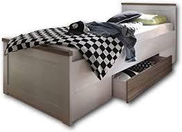 luca komfort stilvolles einzelbett 100 x 200 cm mit bettkasten komfortables landhausstil schlafzimmer bett in pinie weiß trüffel 106 x 91 x 205