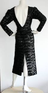 beautiful vintage paco rabanne black sequin dress w plunging back