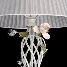 huis florale stehleuchte shabby weiß 162cm stoff schirm