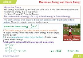 Learning Card For Mechanical Energy And Kinetic