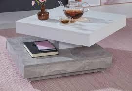 couchtisch wohnzimmer tisch drehbar quadratisch in weiß grau beton beistelltisch