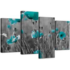 Teal Living Room Ideas Uk by Canvas Art Of Teal Poppies In Black U0026 White For Your Office