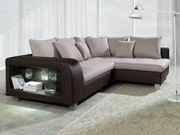 canape d angle beige canapé d angle convertible tissu et simili chiara avec led