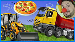 100 Dump Truck Video For Kids Funny Clown Bob Construction Vehicles Tractor Pizza For