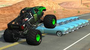 100 Monster Truck Crashes Beamng Drive Crushing Cars Jumps Fails 2