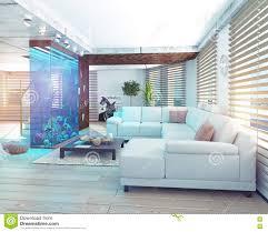 der dachbodeninnenraum mit aquarium stock abbildung