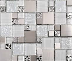 Glass Tiles For Backsplash by Glass Mosaic Tile Backsplash Ssmt110 Silver Metal Mosaic Stainless