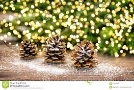 Pine Cone Christmas Tree Decorations by Pine Cone And Christmas Tree Branches With Lights Decoration Stock