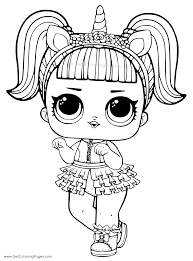 Unicorn LOL Doll Coloring Page For Girls