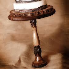 Rustic Pedestal Antiqued Cake Stand