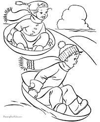 Exercise With Friends In Winter Coloring Pages For Kids Printable Sports