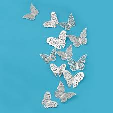 Pinkblume Silver Butterfly Decorations3D Wall DecalsMetallic Art StickerDIYManMadeRemovableDecorative Paper Murals For HomeLiving