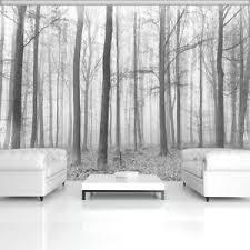 fototapete wald baum nebel wohnzimmer schwarz weiß
