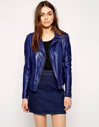 muubaa carmona leather biker jacket in blue lyst