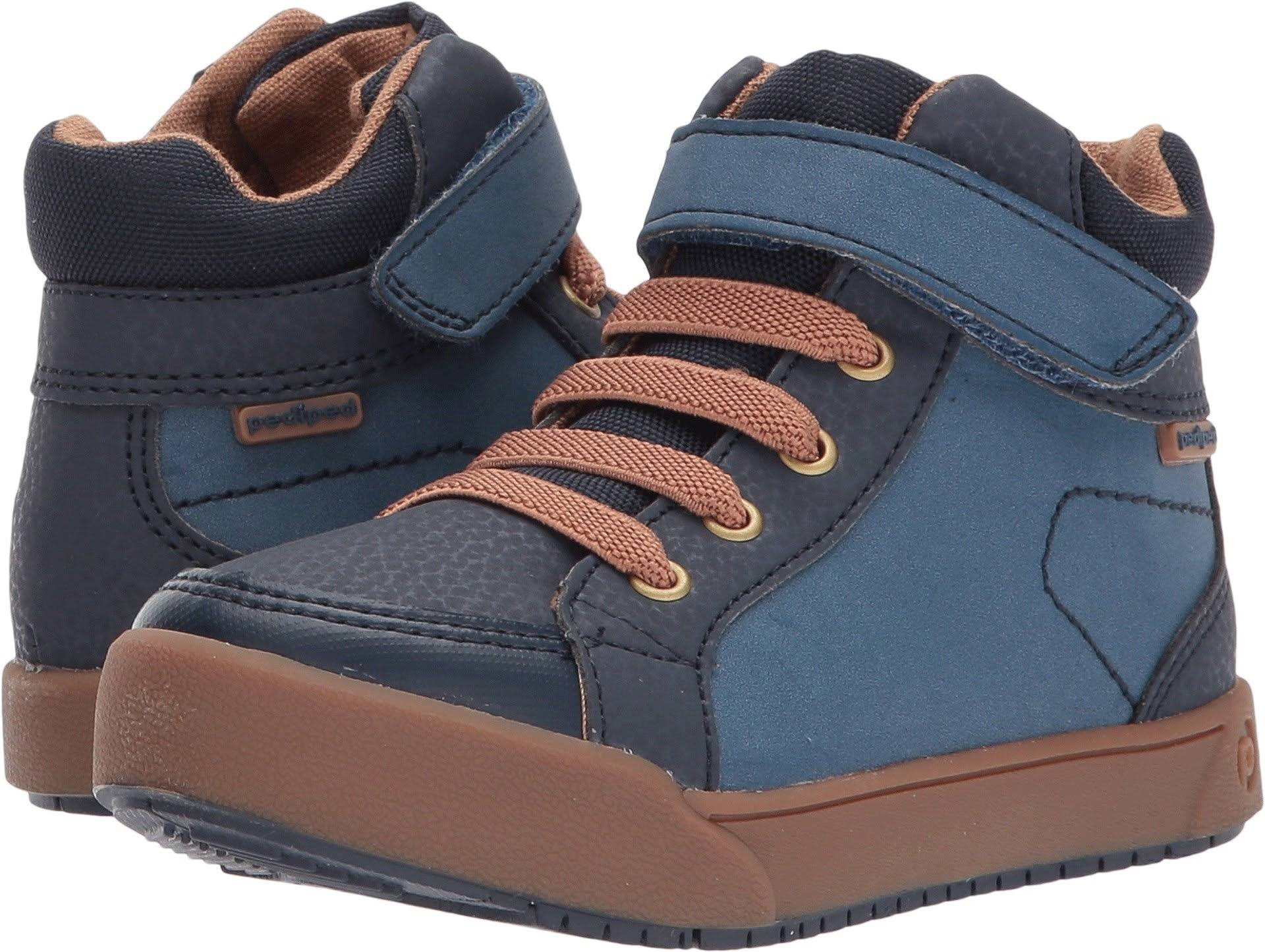 pediped Logan Flex (Toddler/Little Kid/Big Kid) (Navy) Kid's Shoes