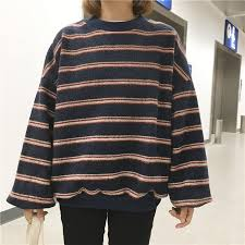 ItGirl Shop VINTAGE RETRO WOOL KNIT STRIPES OVERSIZED O NECK SWEATERS Aesthetic Apparel Tumblr