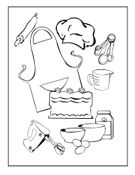 Baker Tools Coloring Pages Kitchen Page Free Utensils Fire Safety Printable Full Size