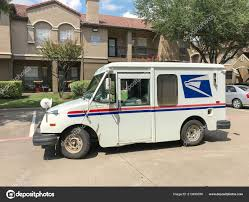 100 Truck Stops In Texas White USPS Truck Stops At Apartment Building Complex On Sunny Da