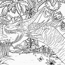 Free Prehistoric Forest Volcano Land Monster Dinosaur Printable Image For Older Children To Colour