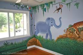 Kids Jungle Animal Nursery Mural Painting Montreal Paintings With Parrot