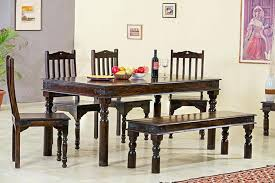 Dining Table With 4 Chairs 6 Set Bench Black Glass