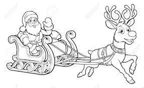 Père Noël Et Son Traîneau De Noël Volent Traîneau Et Rennes Banque D