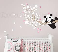stickers panda chambre bébé cherry blossom wall decal with panda and butterflies custom