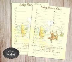 Winnie The Pooh Nursery Decor Ireland by Baby Name Race Baby Shower Game Printable Winnie The Pooh