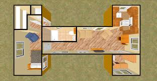 """The """"BIG H"""" 480 Sq Ft Shipping Container Floor Plan Concept 