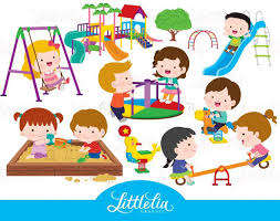 Playground Clipart Childrens Best Images On Vector Black And White Stock