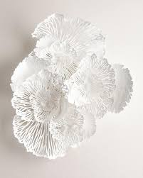 Large Metal Flower Wall Decor Classy White Art Design Inspiration