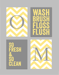 Gray Chevron Bathroom Decor by Print Paper Size Is 5x7 This Listing Is For A Set Of 4 Prints