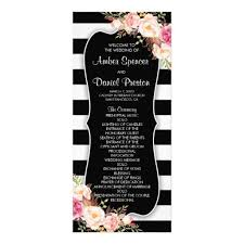 Elegant Floral Black And White Stripe Wedding Program With Pink Watercolor Flowers