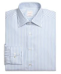 brooks brothers blue and white stripe luxury dress shirt in blue