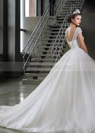 a line boat neck cap sleeves corset back ivory lace tulle wedding