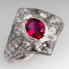 deco ruby and ring deco ruby engraved platinum ring 1920 s