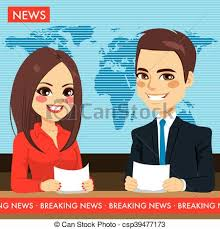 Newscasters Tv News Female And Male On