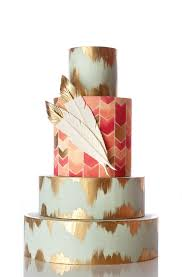 Boho Wedding Cakes Can Have An Ultra Glam Side This Stunning Cake Features Two Different Patterns And Gold Accents Throughout Including A Tipped