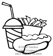 Black and White Hot Dog With a Soda and Box of French Fries Clipart Image