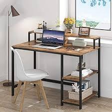 tribesigns computertisch industrieller schreibtisch für das studium pc arbeittisch mit 2 regal metallrahmen für zuhause büro wohnzimmer