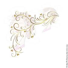 GOLD Retro Swirl Page Border Decoration Elegant Curly Flourishes