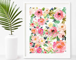 Watercolor Flower Print Wall Art Shabby Chic Instant Download Printable