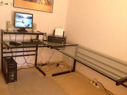 large glass l shaped desk all home ideas and decor tempered