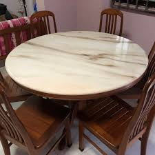 Used 120cm Round Marble Table With 6 Chairs, Furniture ...