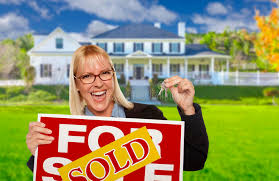 Download Excited Woman Holding House Keys And Sold Real Estate Sign Stock Image