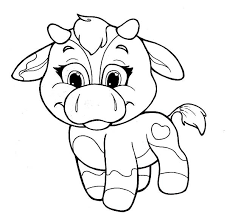 Chibi Baby Cows Colouring Page
