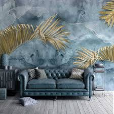 nach wandbild tapete moderne abstrakte blaue zement wand